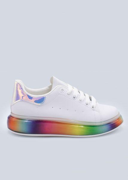 Plateau-Sneaker mit Rainbow-Sohle, weiß