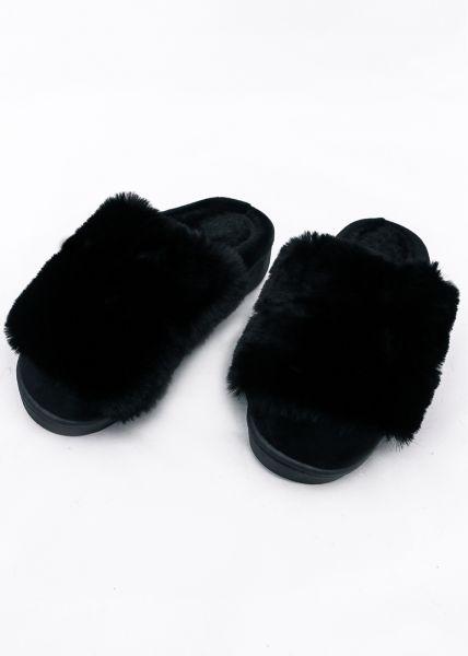 Pantoffeln mit Fake Fur, schwarz