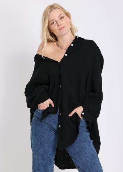 Ultra oversize Blusenhemd, schwarz