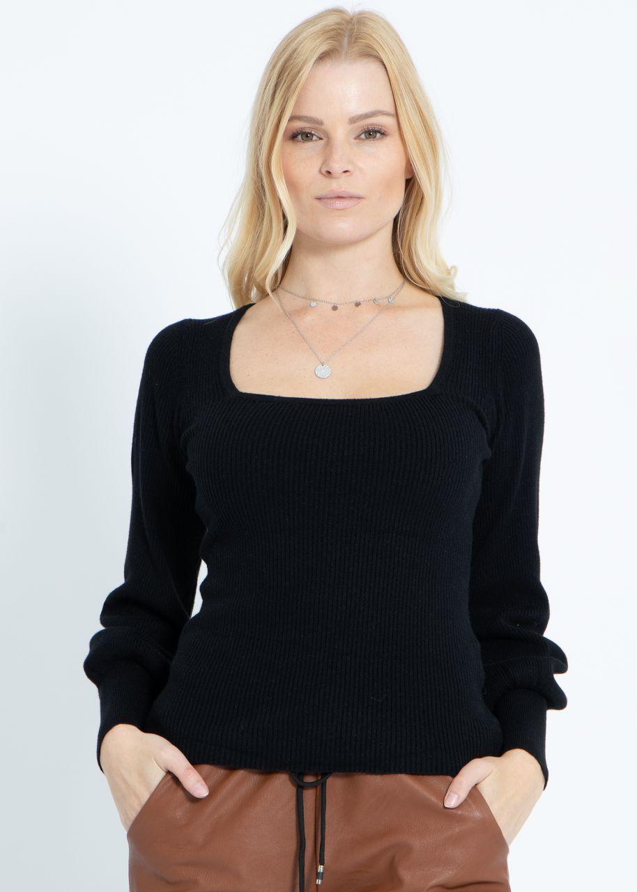 Pullover mit Ausschnitt, schwarz