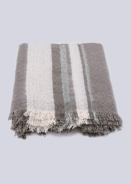 Schal mit Silberfäden, grau/offwhite