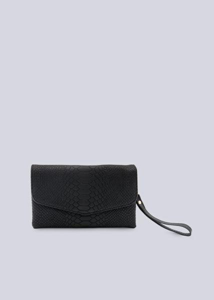 Kleine Überschlagtasche mit Snake-Print, schwarz