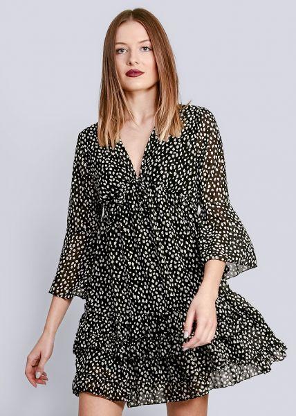 Hängerchenkleid mit Tupfen-Print und tiefem V-Ausschnitt, schwarz
