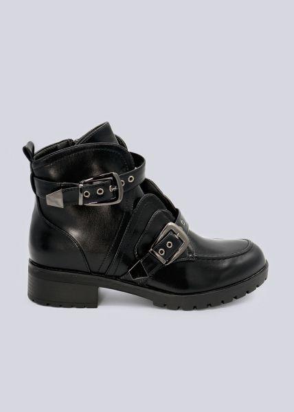 Boots mit Zier-Schnallen, schwarz