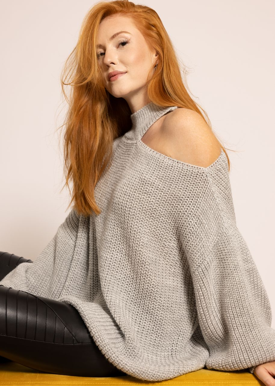 Oversize Cut-Out Pullover, hellgrau