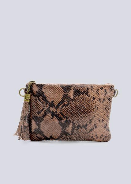 Leder-Tasche mit Snake-Prägung, rosa