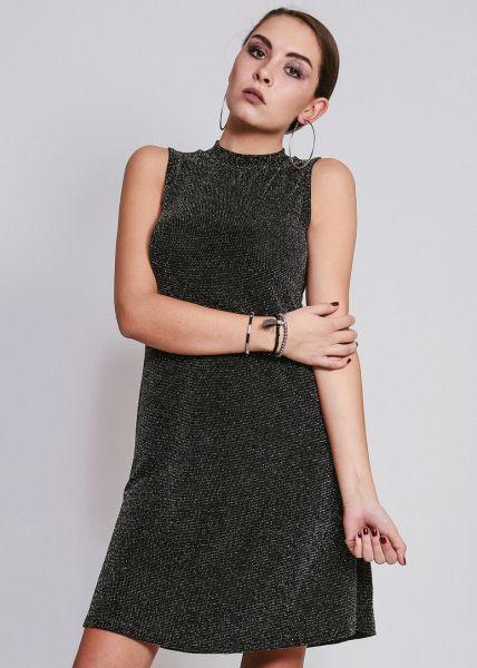 Hängerchenkleid mit Stehkragen, schwarz