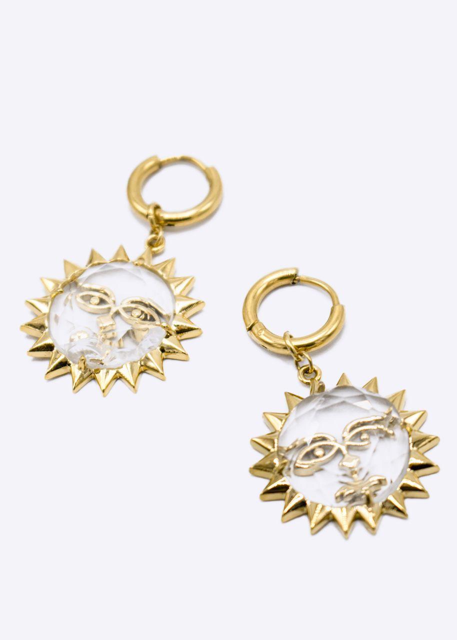 Mini-Creolen mit Sonne, gold
