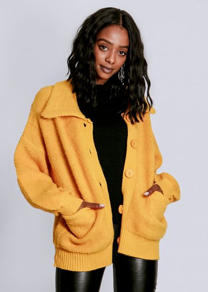 Oversize Strickjacke, gelb