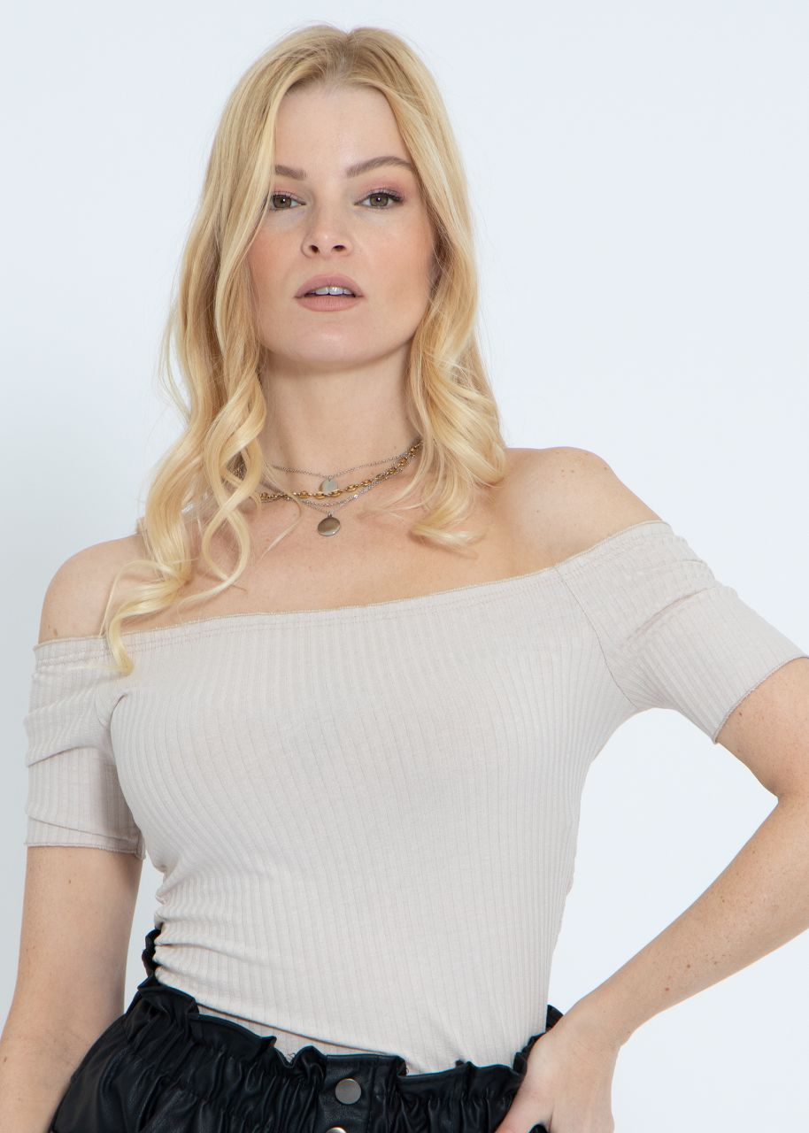 Schulterfreies Crop-Shirt, beige