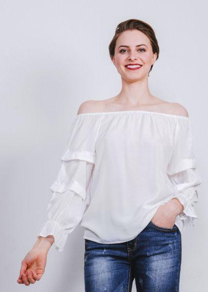 Off-Shoulder Top mit Rüschenärmeln, weiß