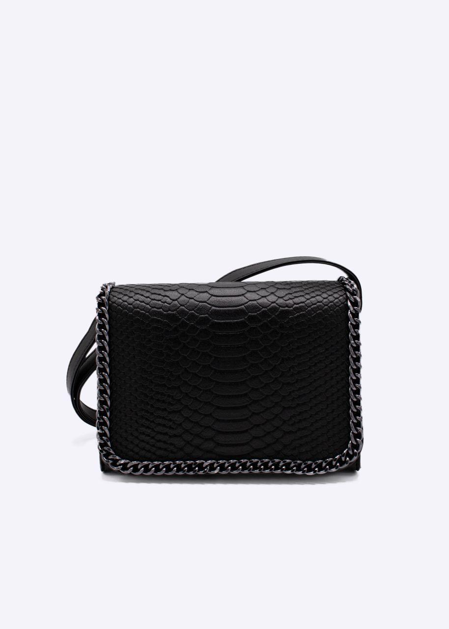 Überschlagtasche mit Kette, schwarz