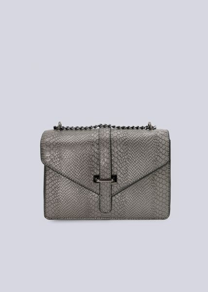 Überschlagtasche in Snake-Optik, grau
