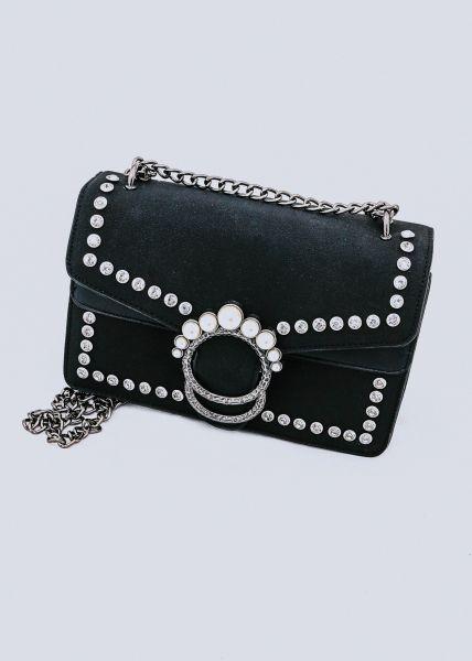 Umhängetasche mit Perlenverschluss, schwarz