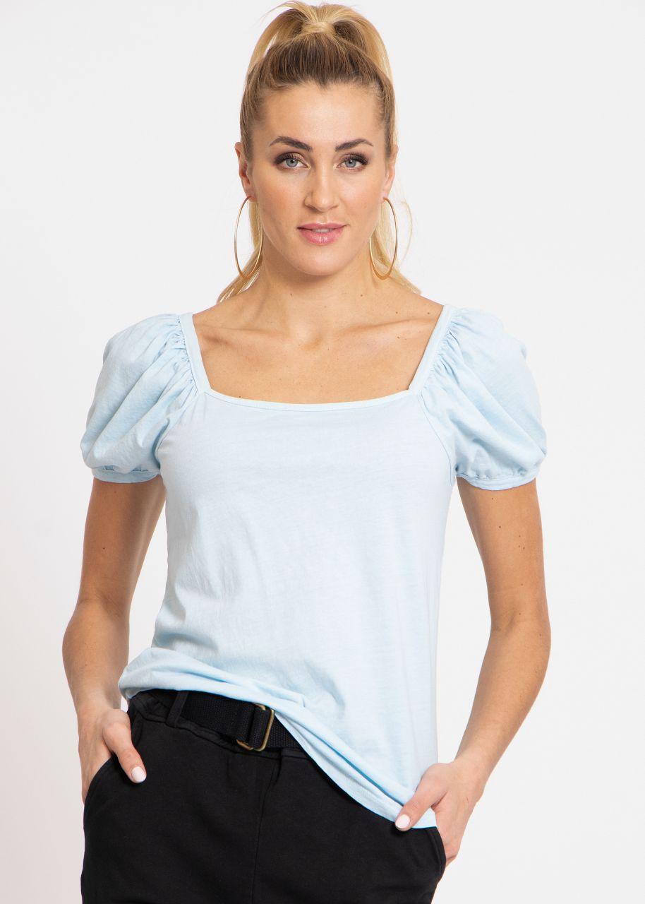 T-Shirt mit eckigem Ausschnitt, hellblau