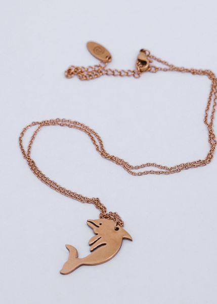 Halskette mit Delphin, roségold