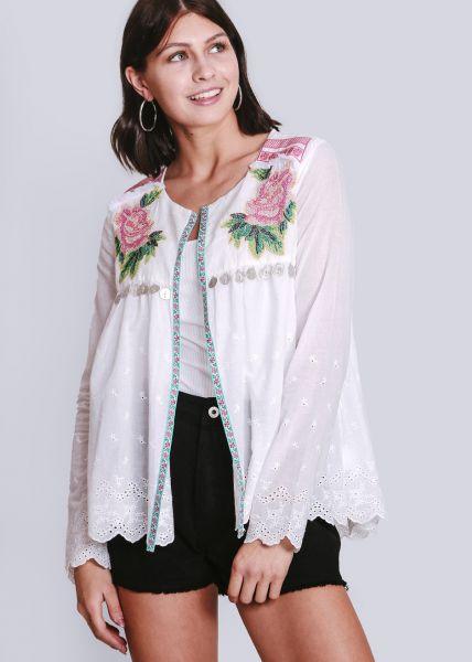 Blusenjacke mit Rosen-Stickerei, weiß