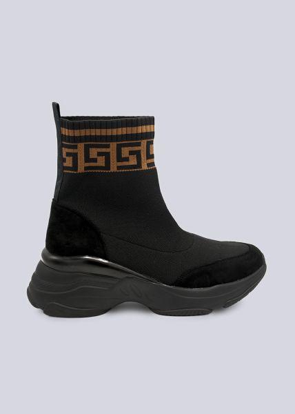 Sock-Boots mit Bordüre, schwarz