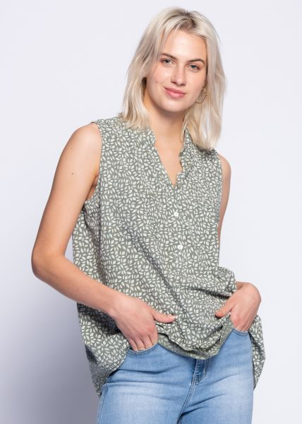 Ärmellose Bluse mit Print, khaki