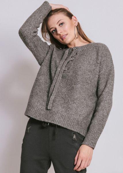 Pullover mit Schnürung, grau
