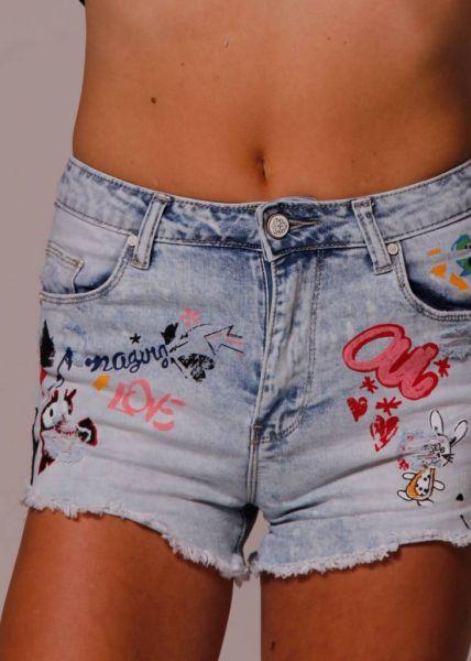 Artsy Denim-Shorts