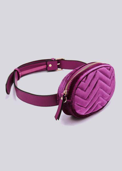 Gürteltasche / Tasche in Samt, pink