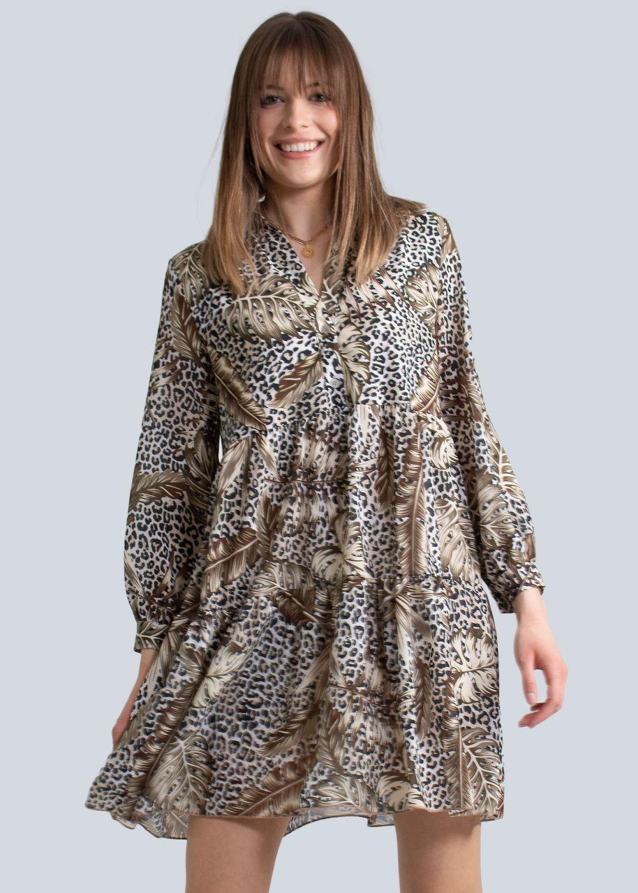 Hängerchenkleid mit Dschungel-Print, khaki