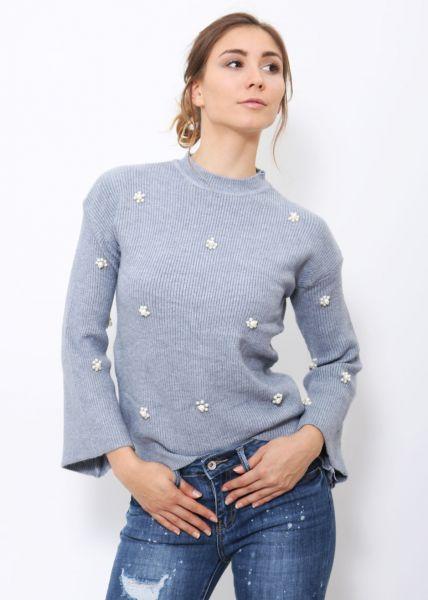 Pullover mit Perlen, grau-blau