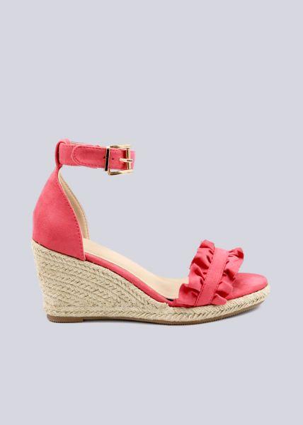 Sandaletten mit Keilabsatz, himbeerrot