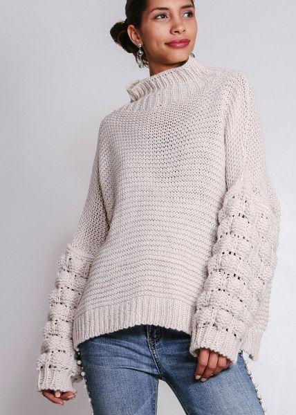 Pullover mit voluminösen Ärmeln, beige