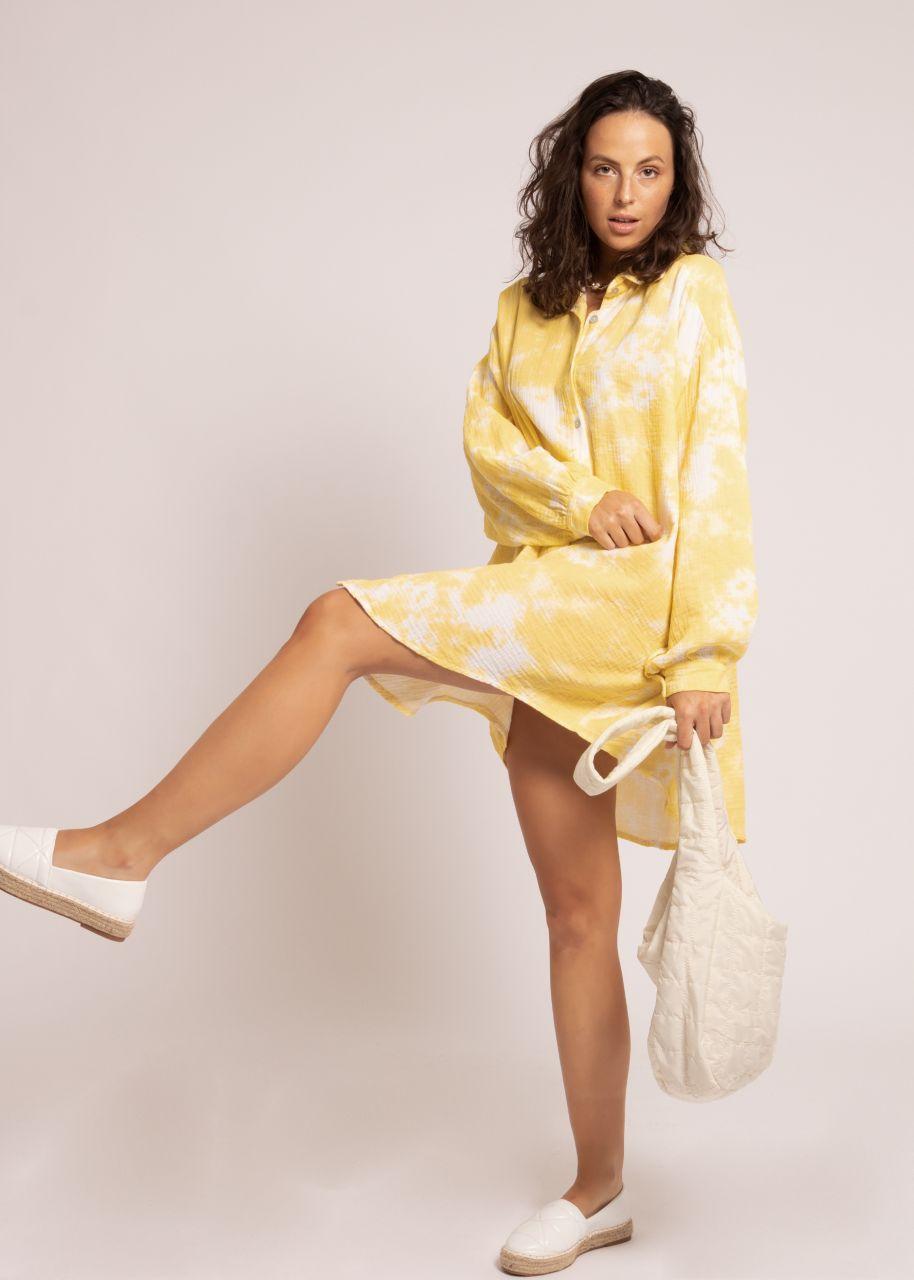 Ultra oversize Blusenhemd mit Batik-Print, gelb