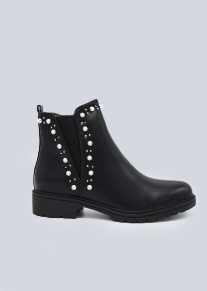 Boots mit Stretcheinsatz und Perlen, schwarz