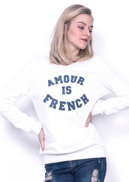 "Sweatshirt ""AMOUR IS FRENCH"", weiß"
