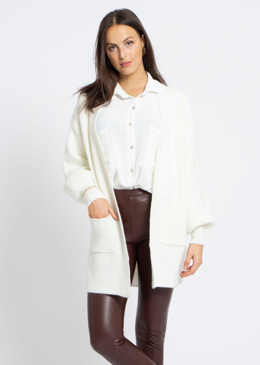 Strick-Cardigan mit Taschen, offwhite