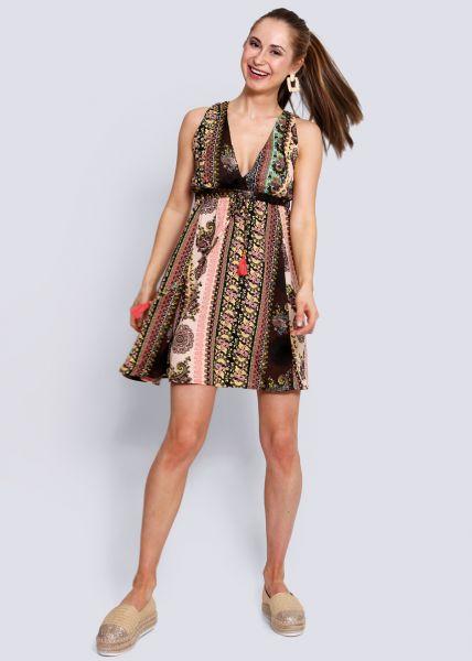 Kleid mit tiefem V-Ausschnitt, braun