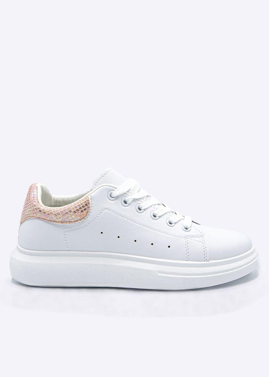 Sneaker mit glänzender, rosa Ferse, weiß