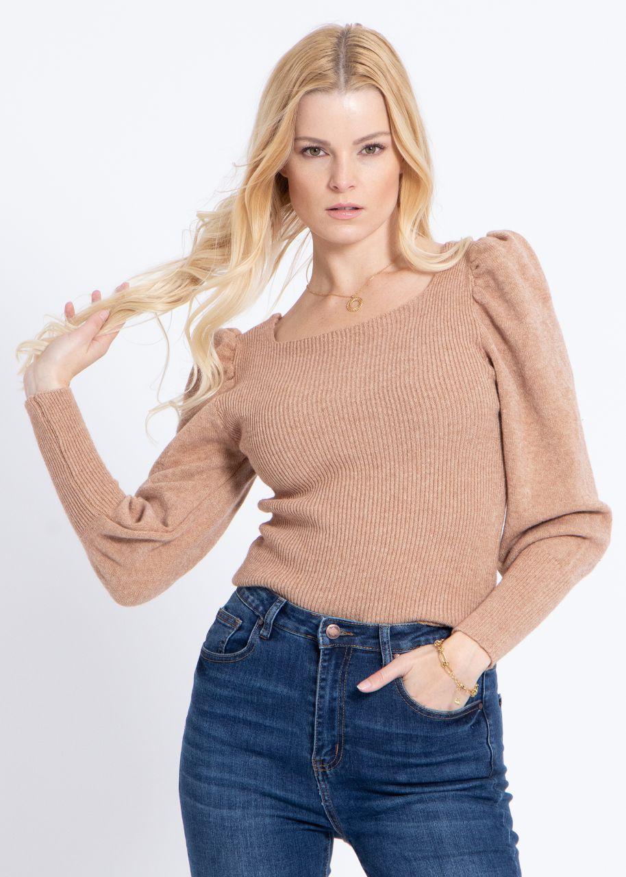 Pullover mit Ausschnitt, camel