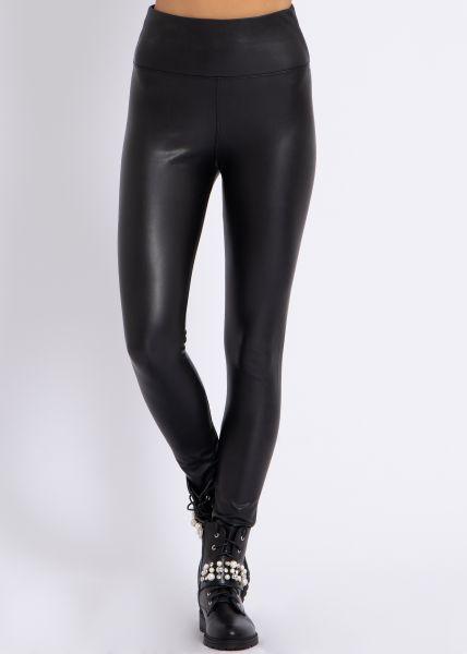Super Highwaist Leder-Leggings, schwarz