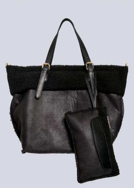 Shopper mit kleiner zusätzlichen Tasche, schwarz