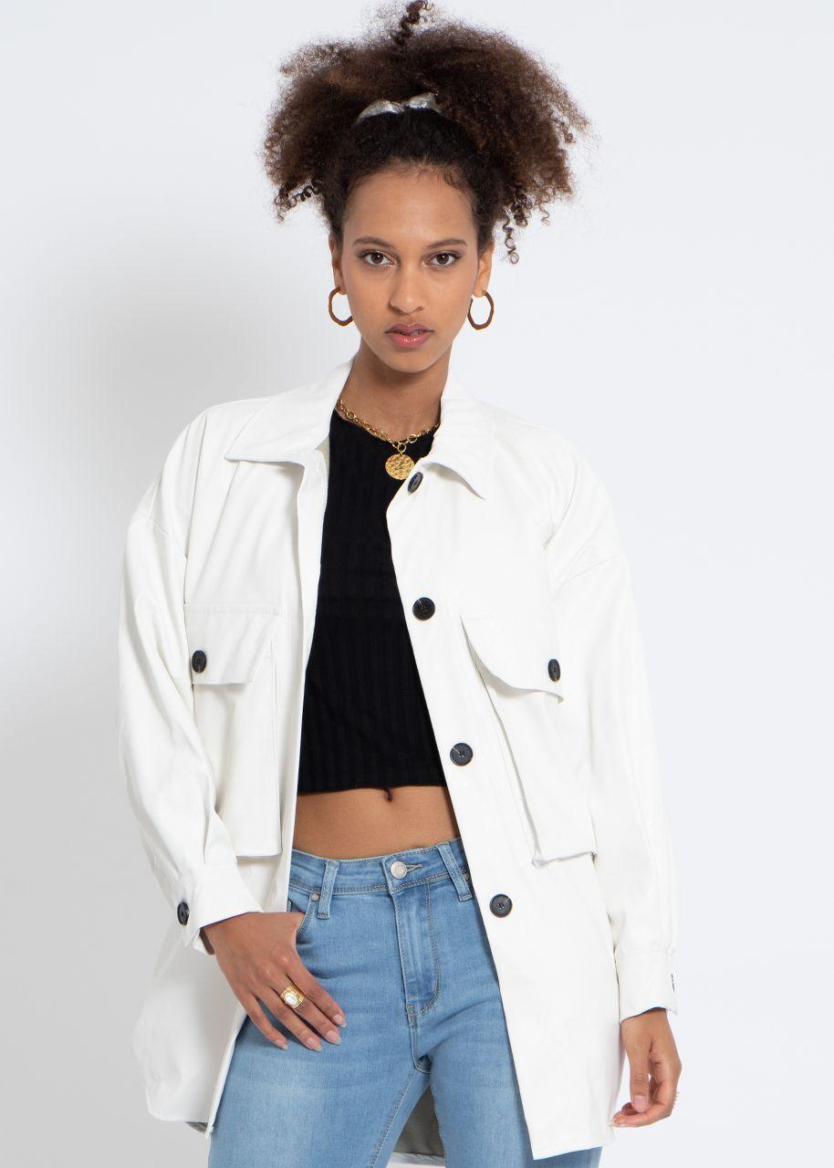 Leder-Jacke mit Taschen, weiß