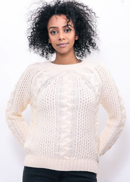 Pullover mit Zopfmuster, offwhite