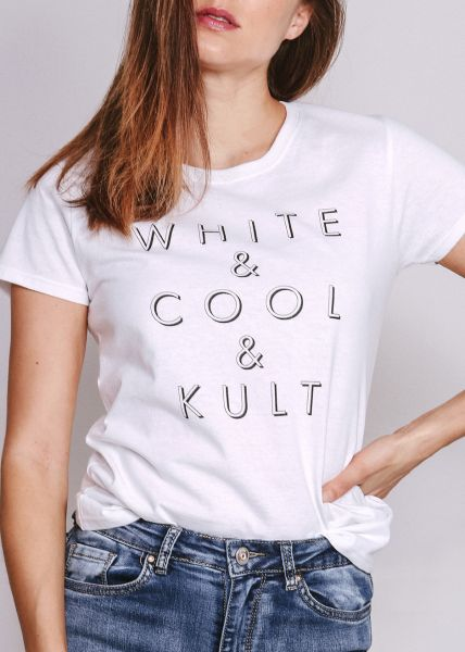 "T-Shirt ""WHITE COOL KULT"", weiß"