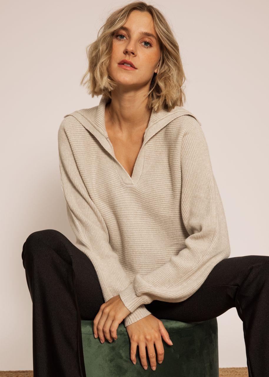 Pullover mit Kragen, offwhite