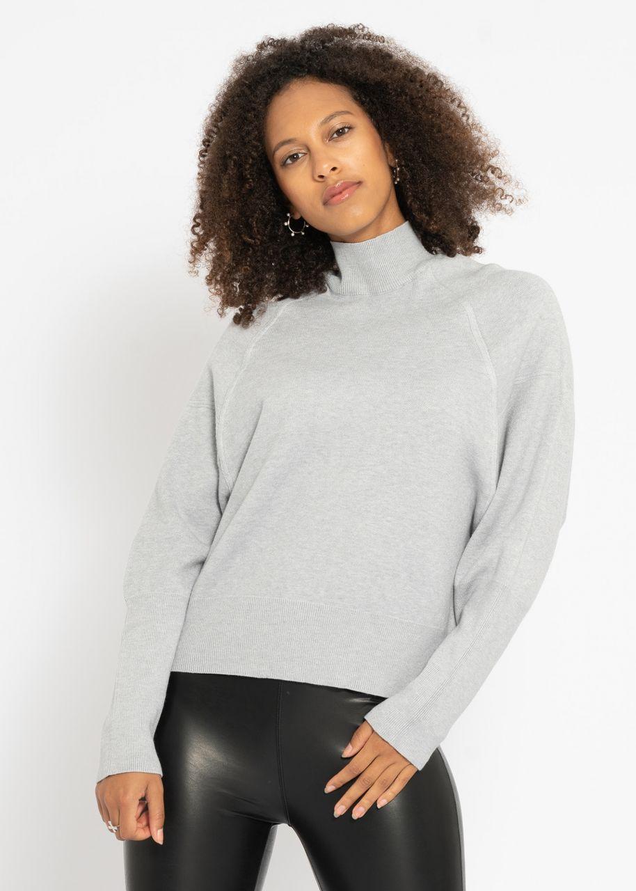 Oversize Turtleneck-Pullover, grau