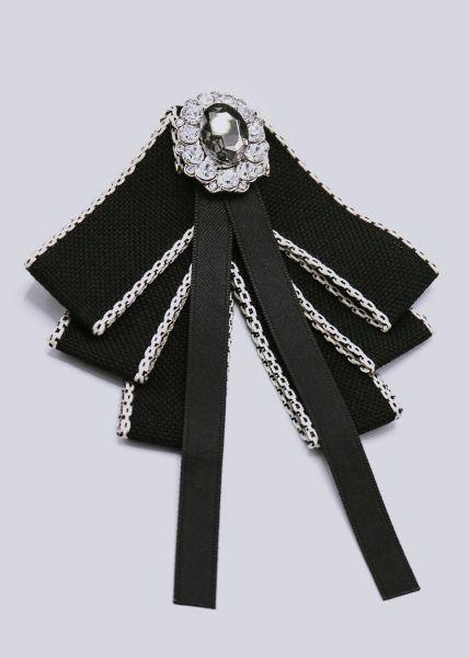 Brosche mit funkelndem Stein, schwarz