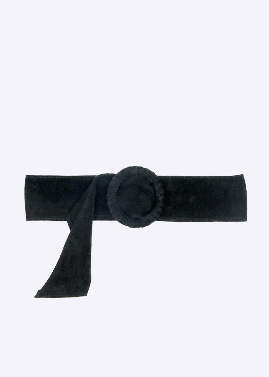 Taillengürtel in Veloursleder, schwarz