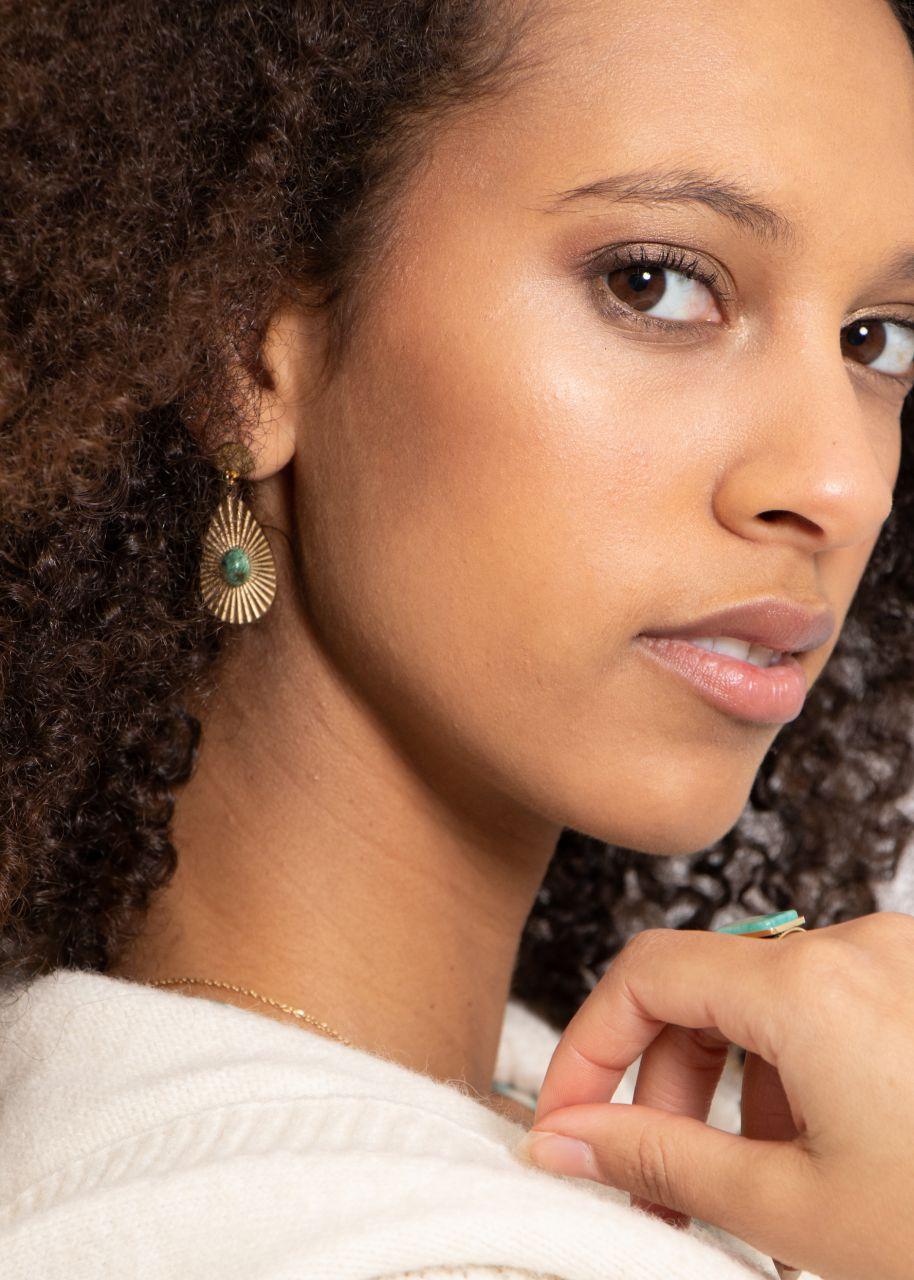 Ohrhänger mit türkis Stein, gold