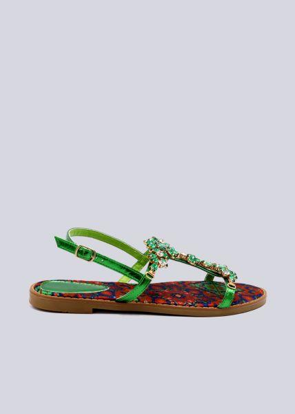 Sandalen mit Glitzersteinen, grün