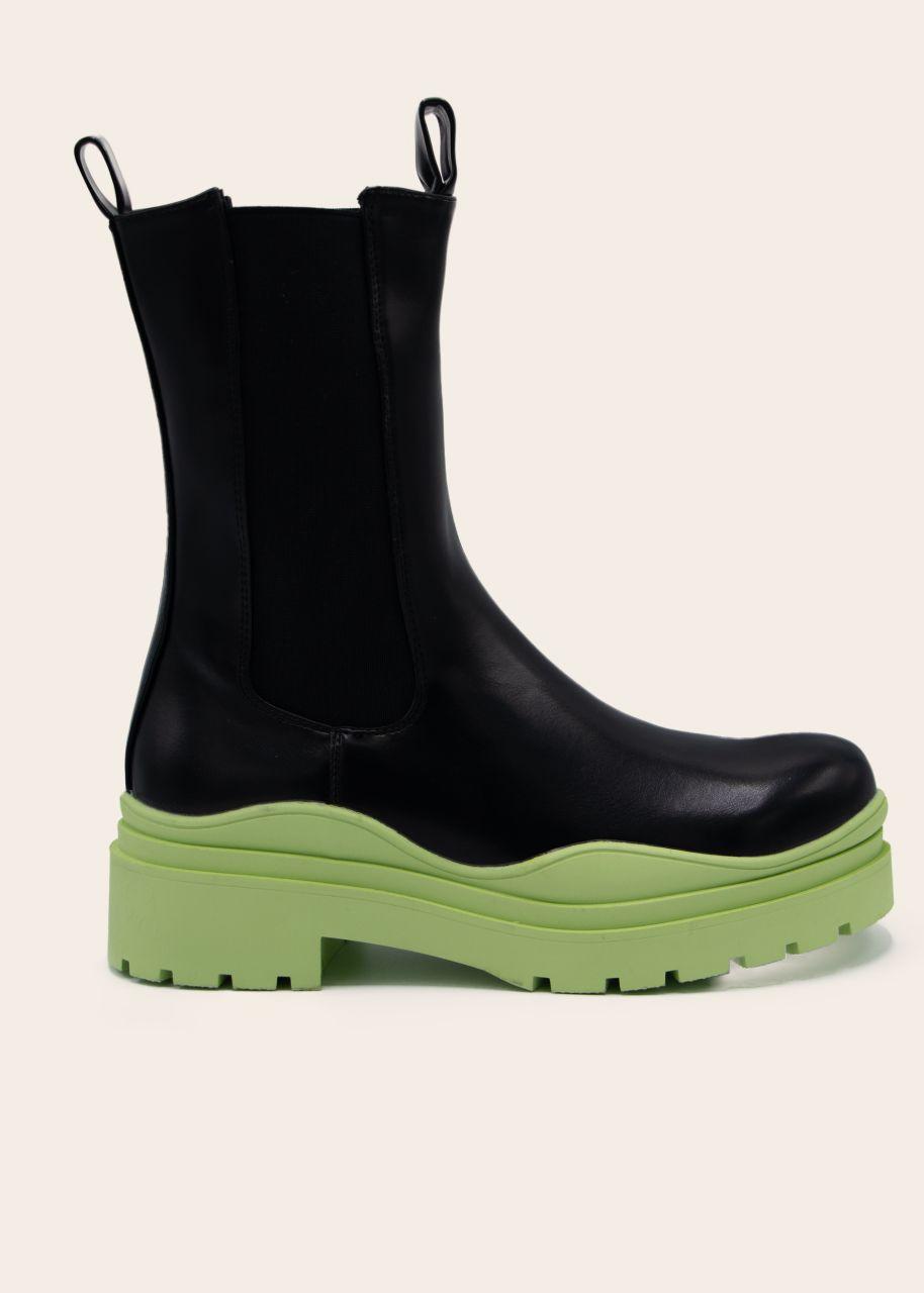 Combat-Boots mit grüner Sohle, schwarz