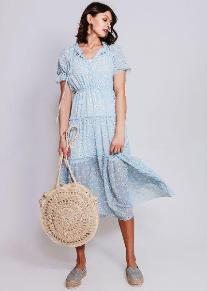 Midi-Kleid mit Blumen-Print, blau